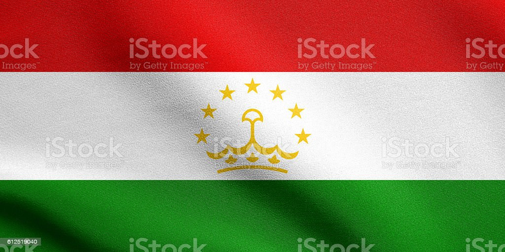 Flag of Tajikistan waving with fabric texture stock photo