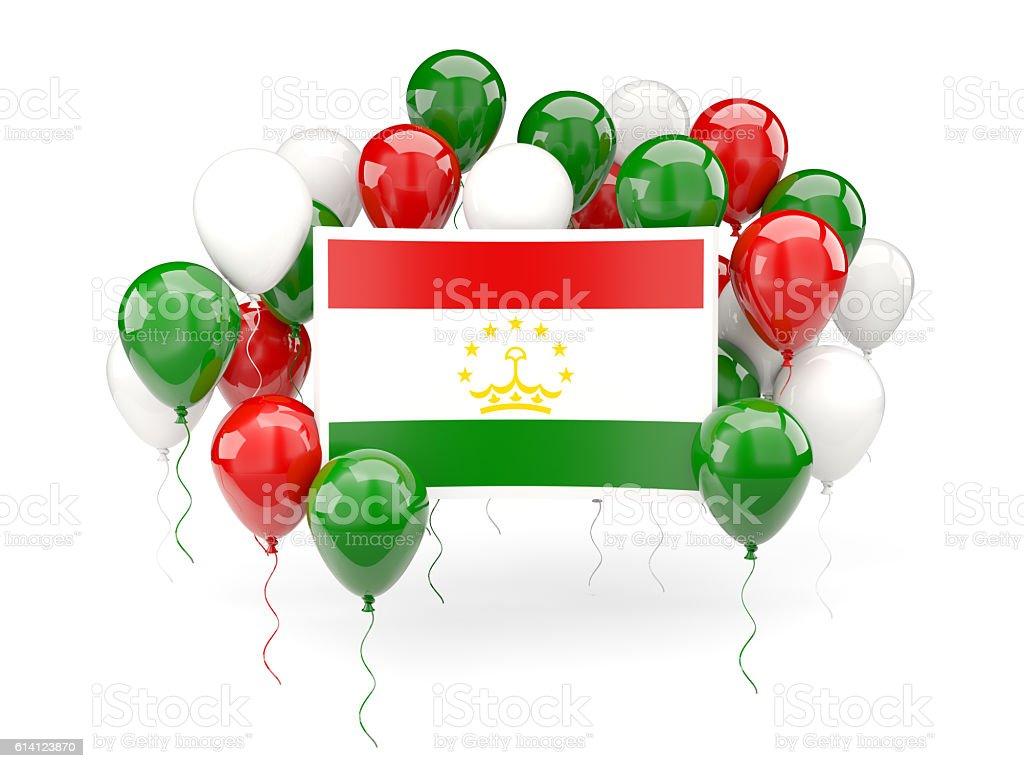Flag of tajikistan with balloons stock photo