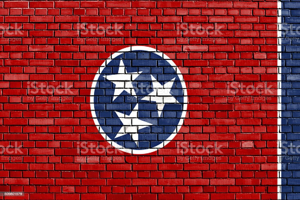 flag of Tennessee painted on brick wall stock photo