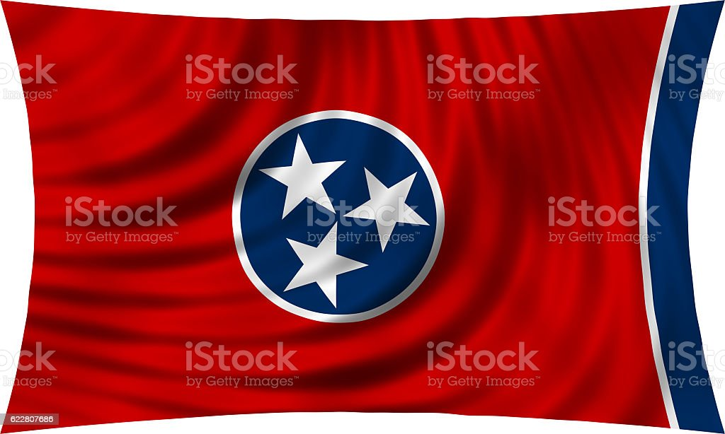 Flag of Tennessee waving isolated on white stock photo