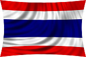 Flag of Thailand waving in wind isolated on white