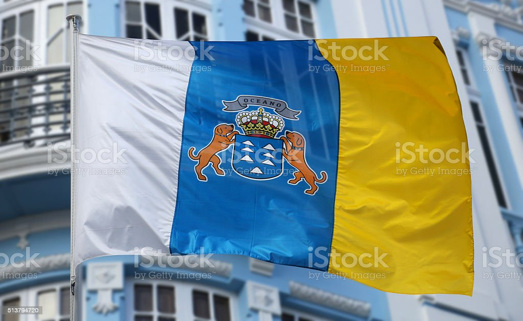 Flag of the Canary Islands stock photo