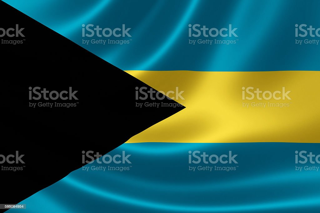 Flag of the Commonwealth of the Bahamas stock photo