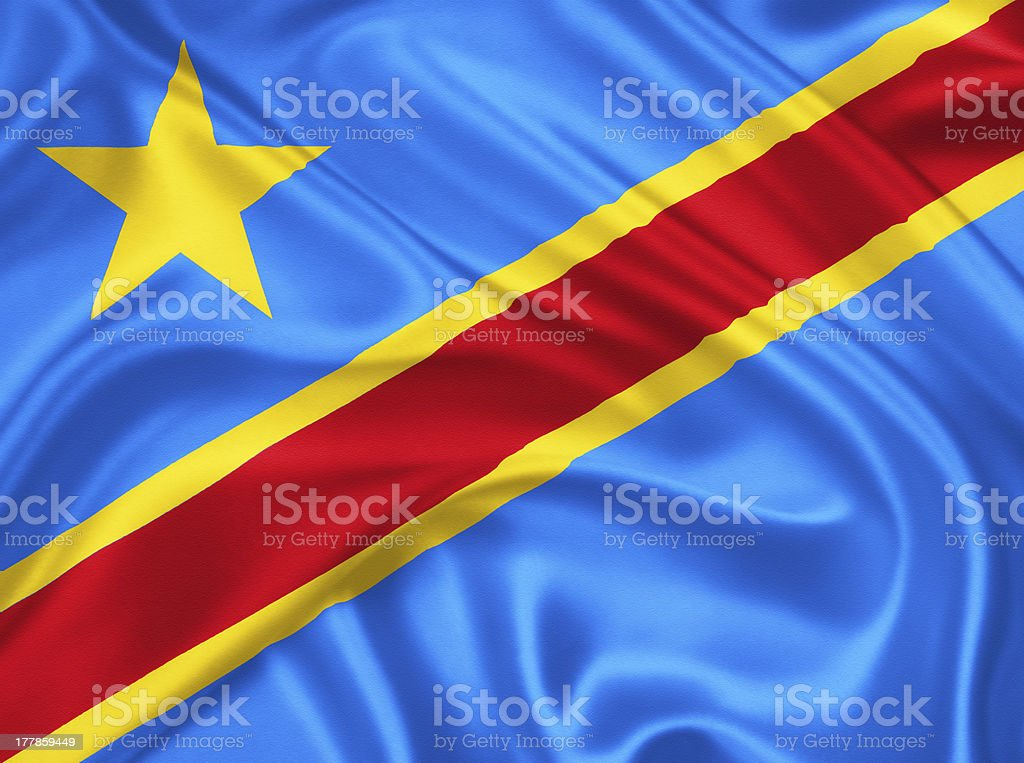 flag of the Congo stock photo