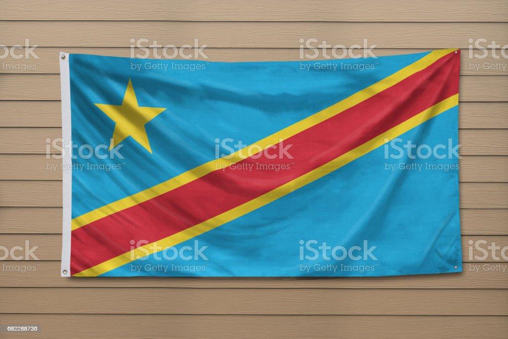 Flag of the Democratic Republic of the Congo stock photo