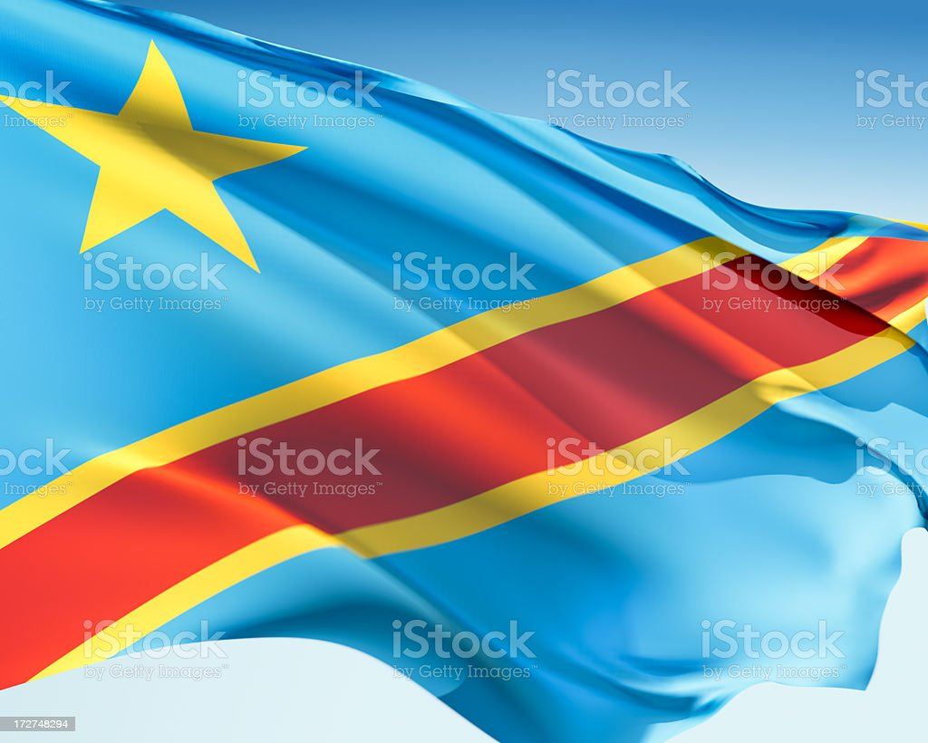 Flag of the DR Congo stock photo