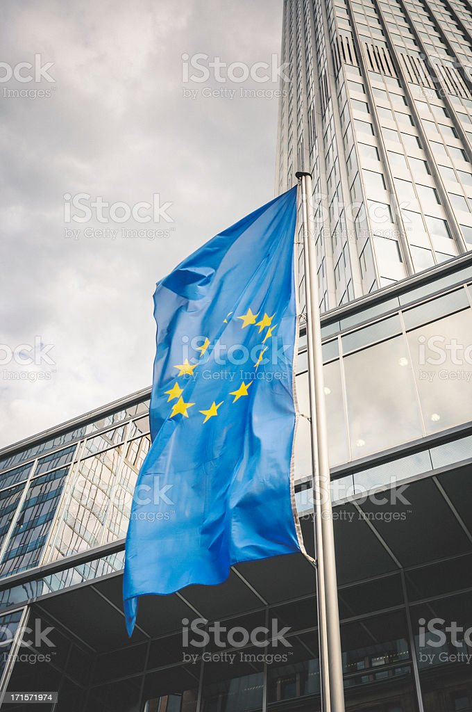 Flag of the European Community in Frankfurt am Main royalty-free stock photo
