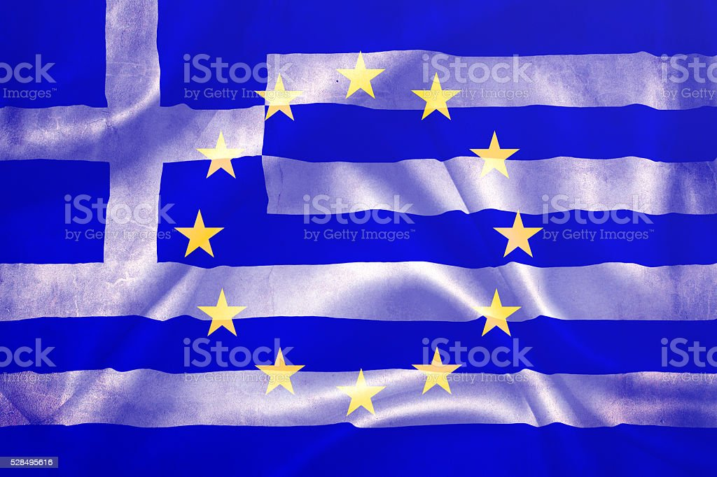 Flag of the European Union and Greece stock photo