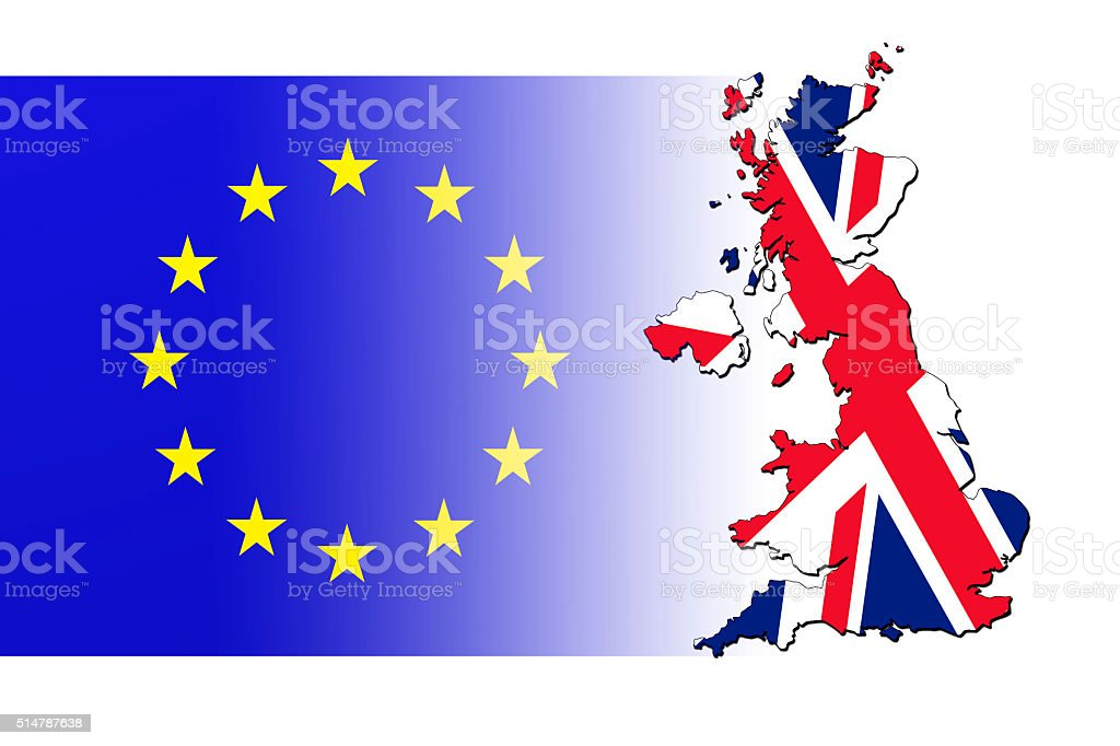 Flag of the European Union and map of Great Britain vector art illustration