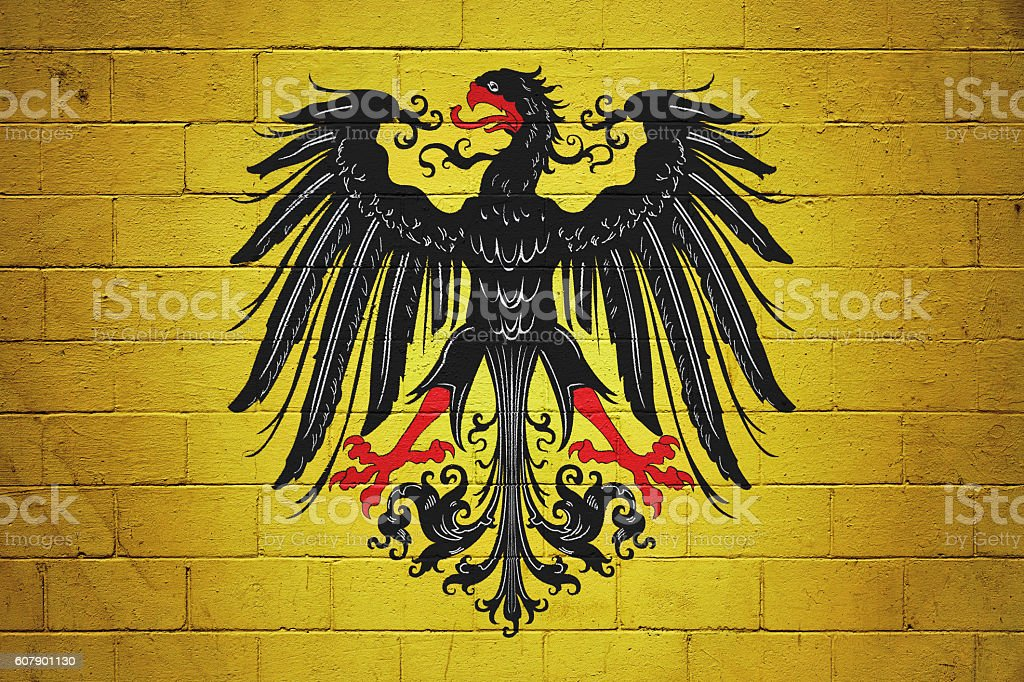 Flag of the Holy Roman Emperor painted on a wall stock photo