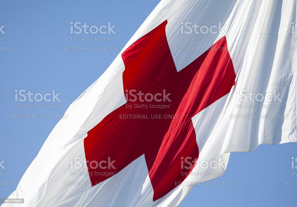 Flag of the International Red Cross stock photo