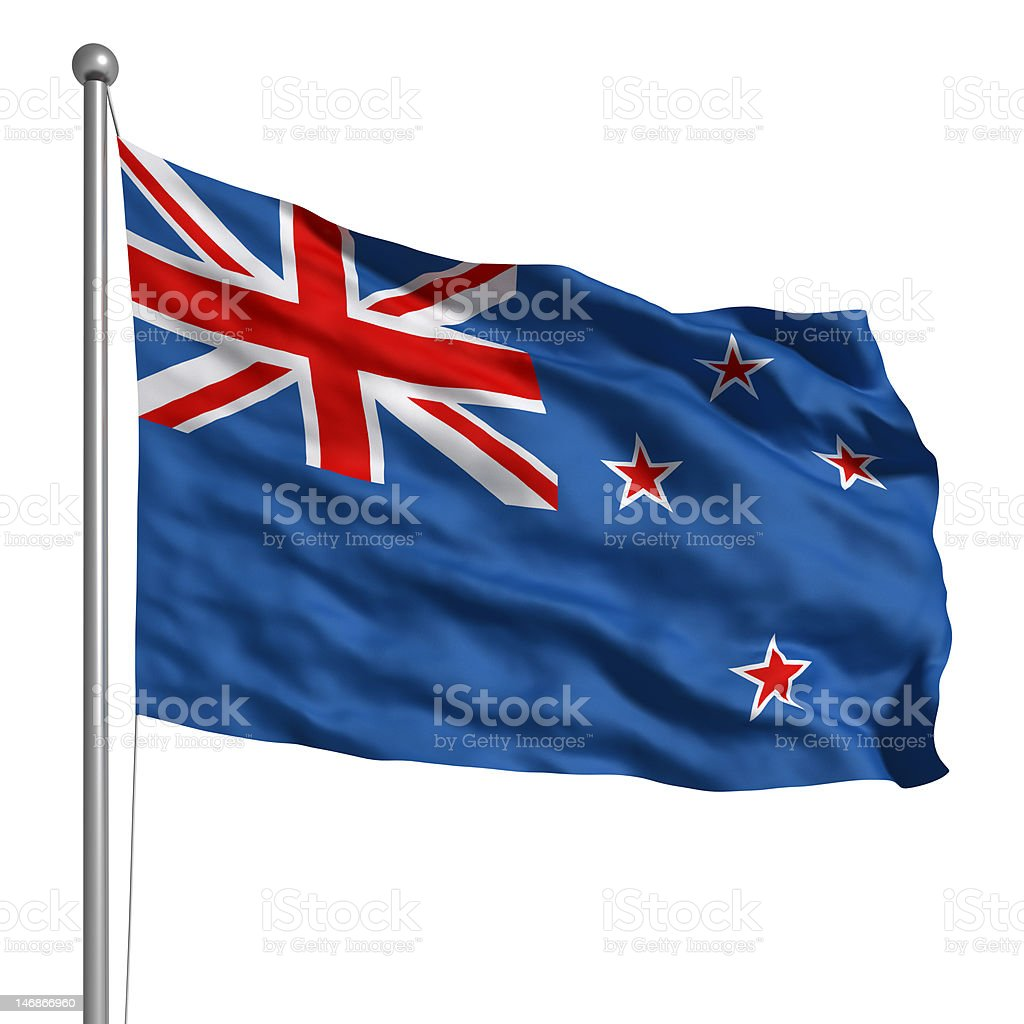 Flag of the New Zealand (Isolated) stock photo