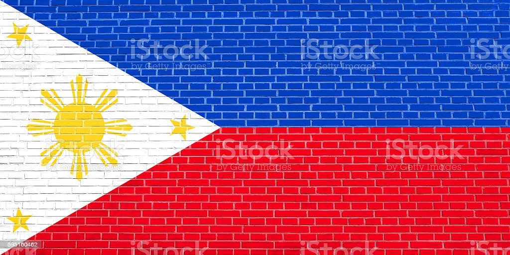 Flag of the Philippines on brick wall texture background stock photo