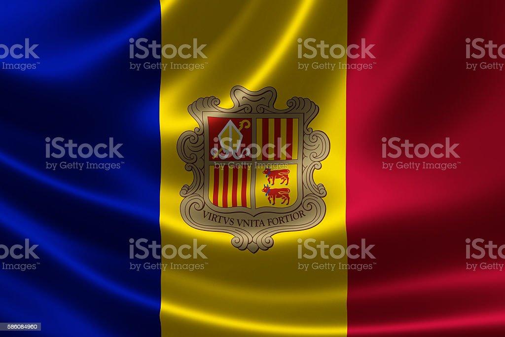 Flag of the Principality of Andorra stock photo