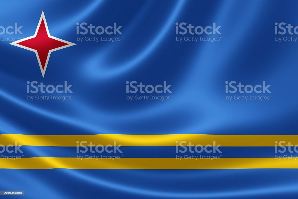 Flag of the Republic of Aruba stock photo