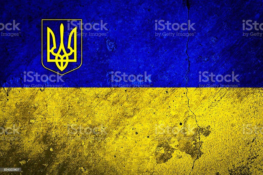 Flag of the Ukraine on Concrete Wall Texture stock photo