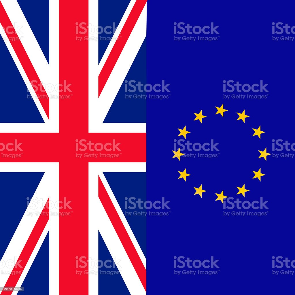 Flag of the United Kingdom and the EU vector art illustration