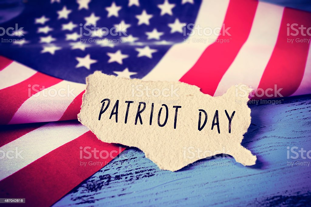 flag of the United States and the text Patriot Day stock photo