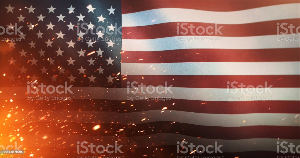 Flag of the United States of America - Crisis / War / Fire stock photo