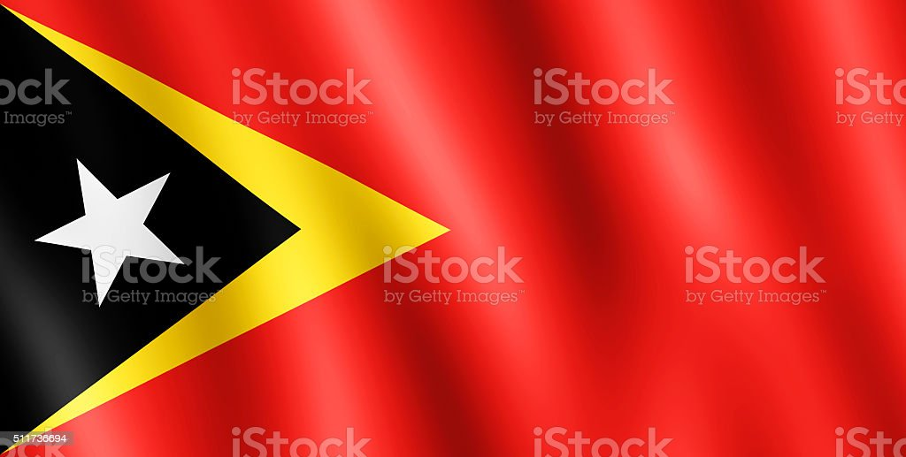 Flag of Timor-Leste waving in the wind stock photo
