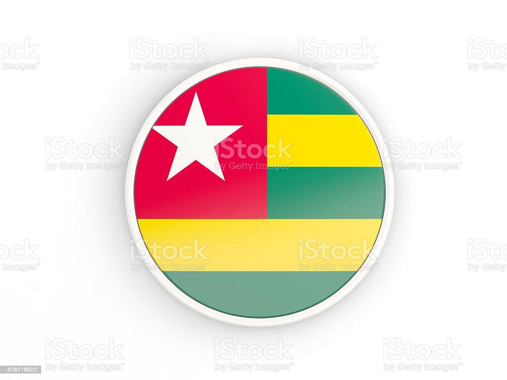 Flag of togo. Round icon with frame stock photo
