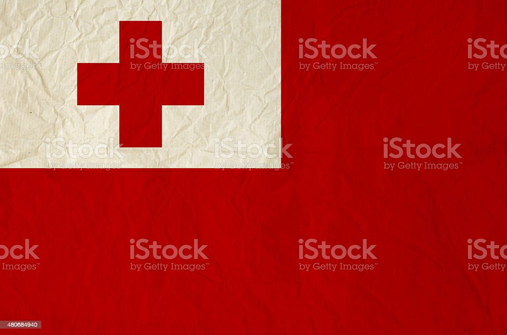 Flag of Tonga with vintage old paper texture stock photo