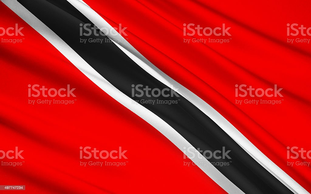 Flag of Trinidad and Tobago, Port-of-Spain stock photo