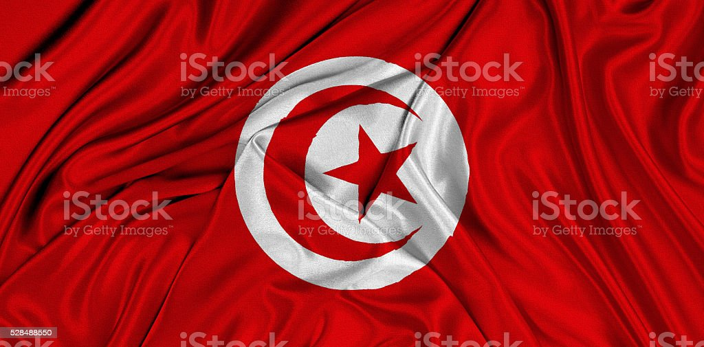 Flag of Tunisia 3d, silk textured stock photo