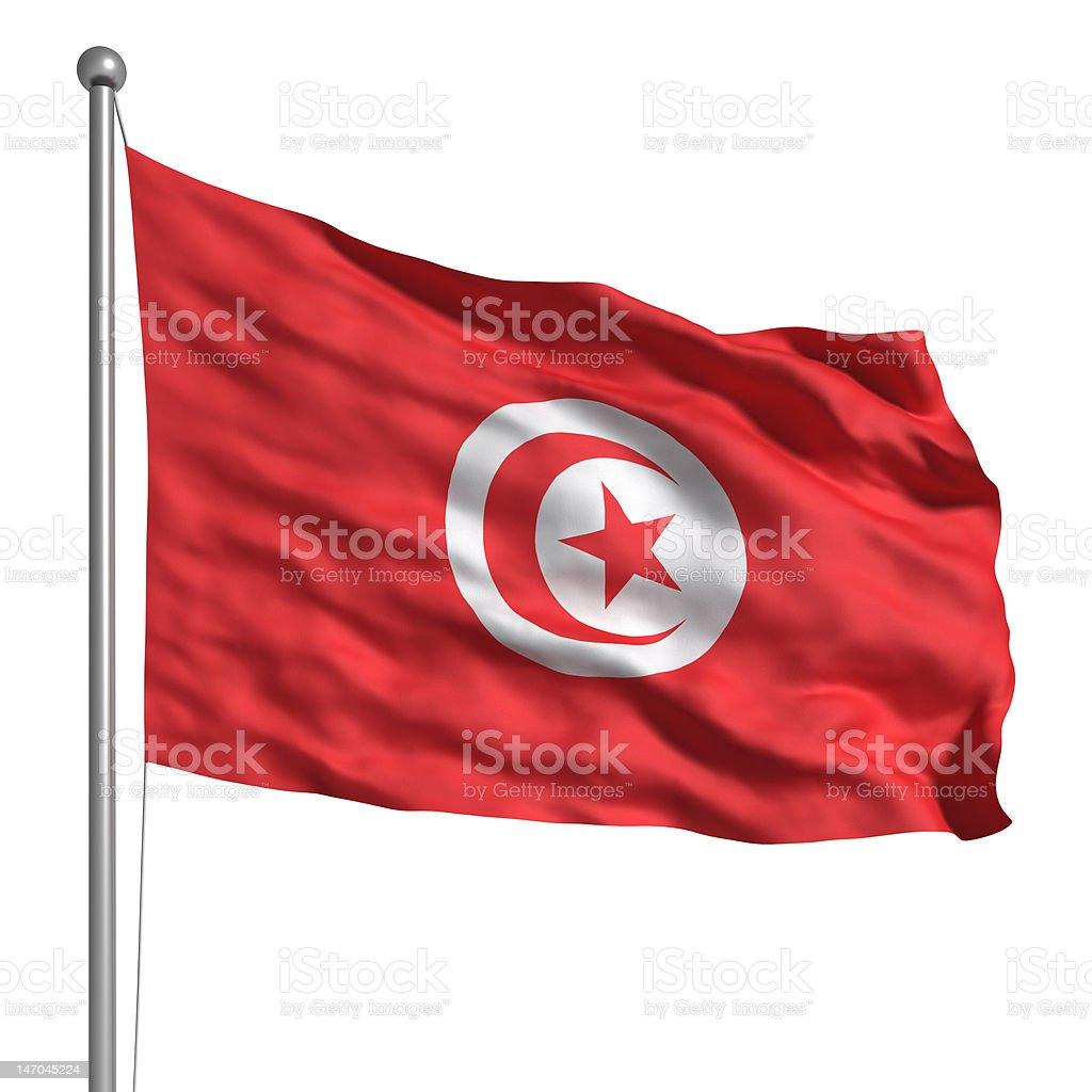 Flag of Tunisia (Isolated) stock photo