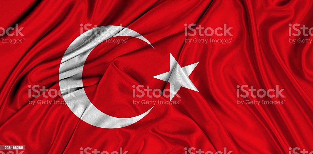 Flag of Turkey 3d, silk textured stock photo