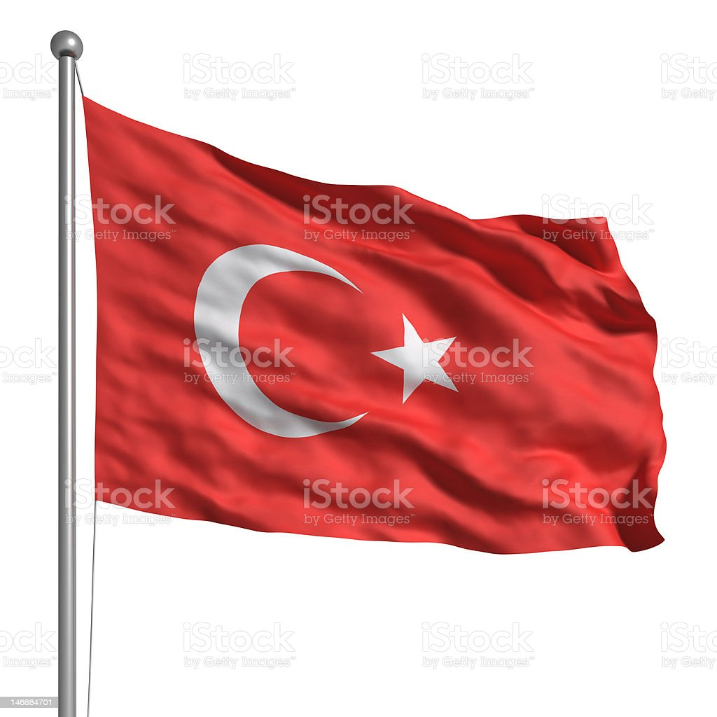 Flag of Turkey (Isolated) stock photo