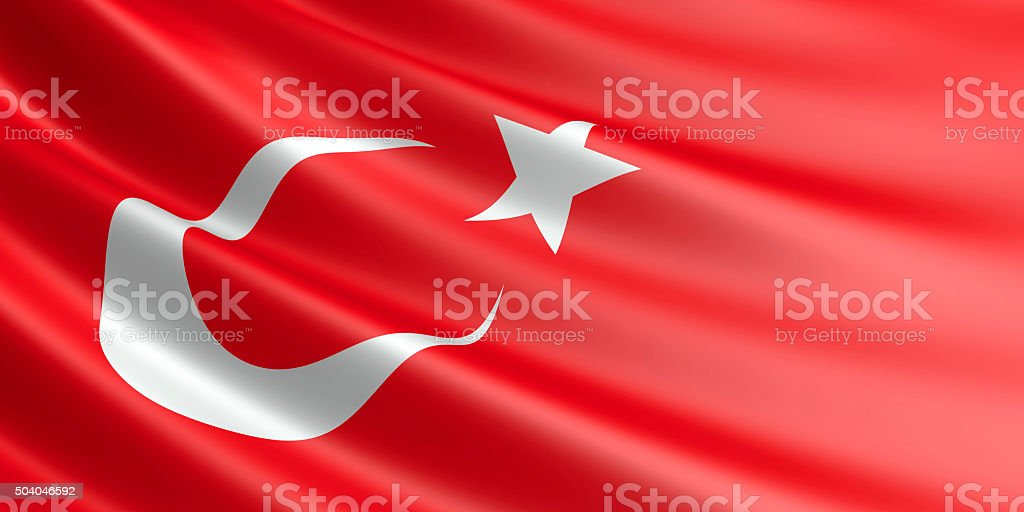 Flag of Turkey waving in the wind. royalty-free stock photo