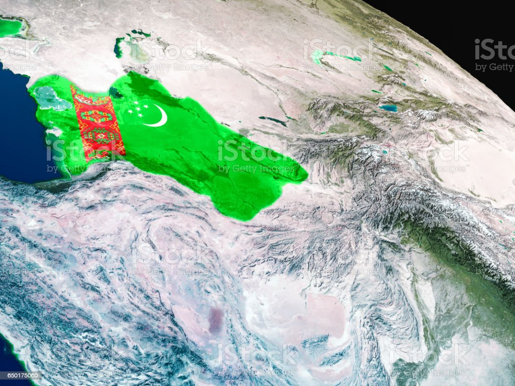 Flag of Turkmenistan from space stock photo