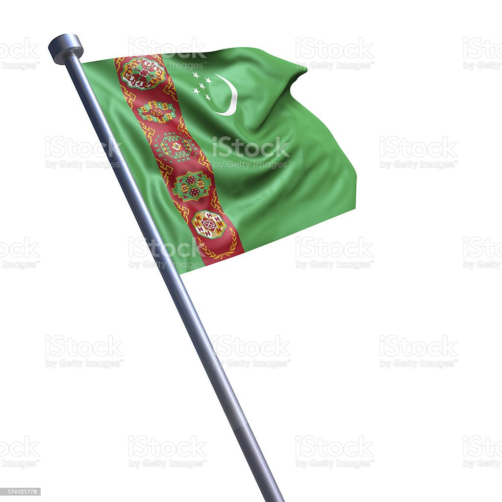 Flag of Turkmenistan isolated on white stock photo