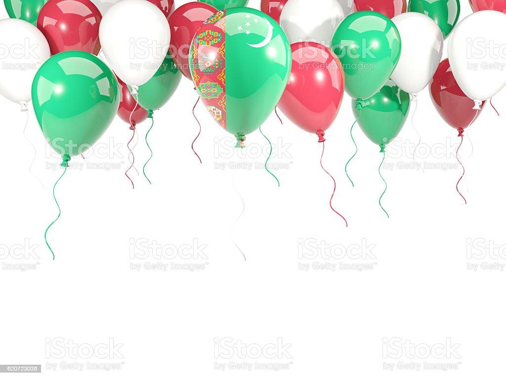 Flag of turkmenistan on balloons stock photo