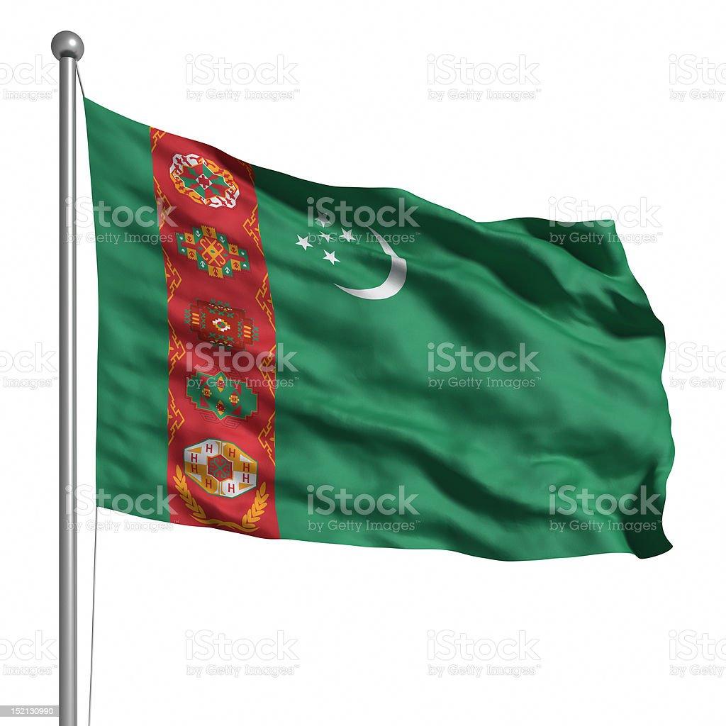 Flag of Turkmenistan (Isolated) stock photo