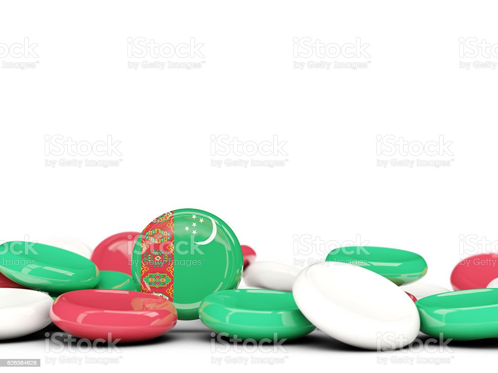 Flag of turkmenistan, round buttons stock photo