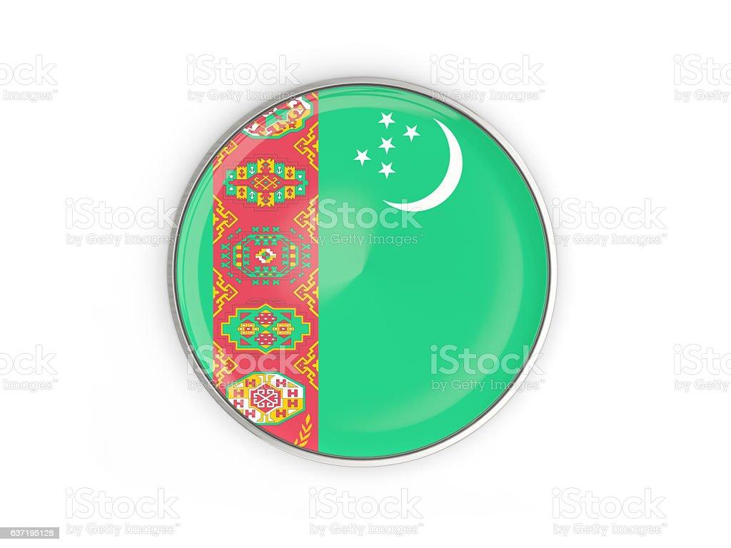 Flag of turkmenistan, round icon with metal frame stock photo