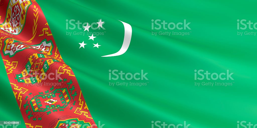 Flag of Turkmenistan waving in the wind. royalty-free stock vector art