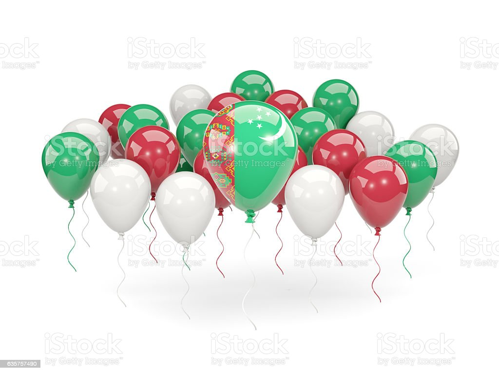 Flag of turkmenistan with balloons stock photo