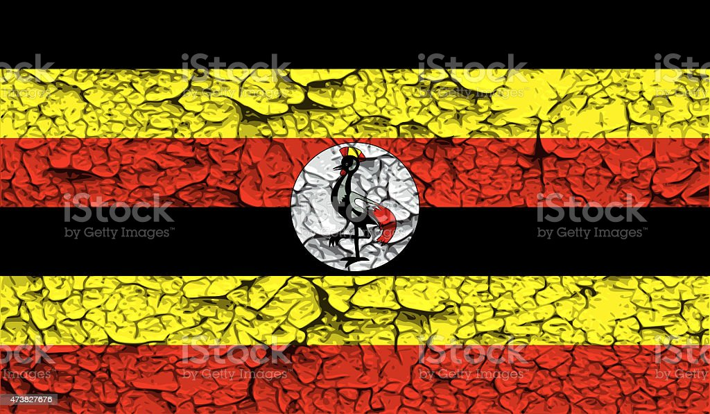 Flag of Uganda with old texture. stock photo