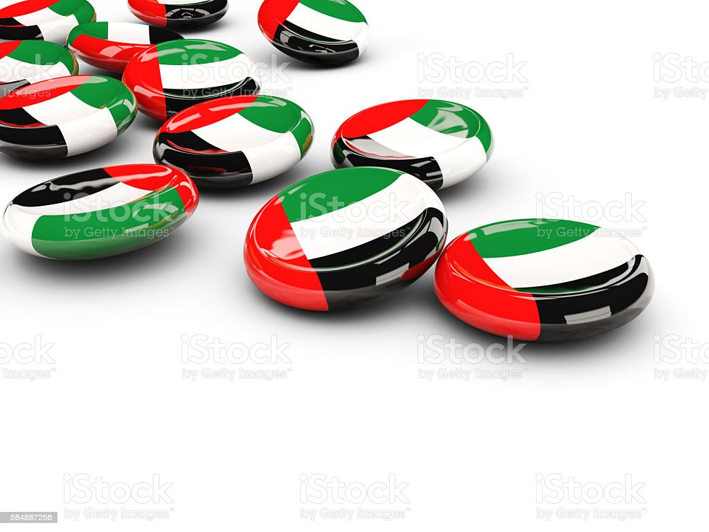 Flag of united arab emirates, round buttons stock photo