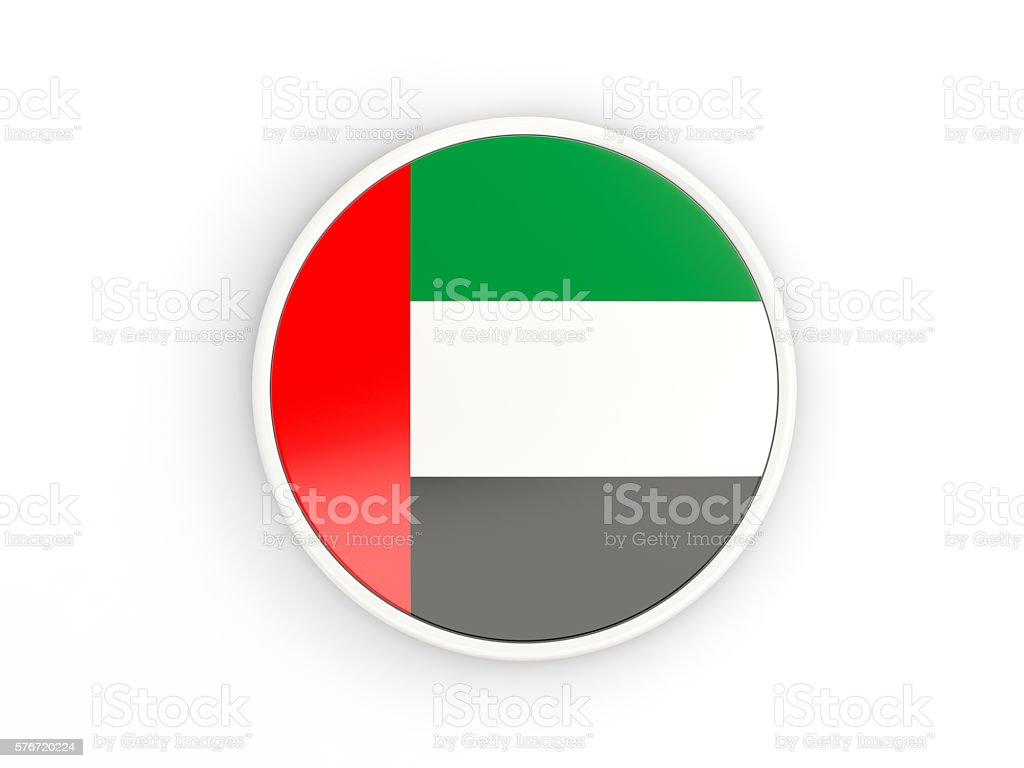 Flag of united arab emirates. Round icon with frame stock photo