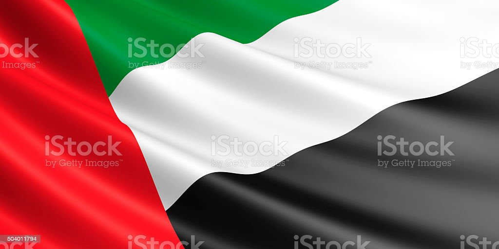Flag of United Arab Emirates waving in the wind. royalty-free stock vector art
