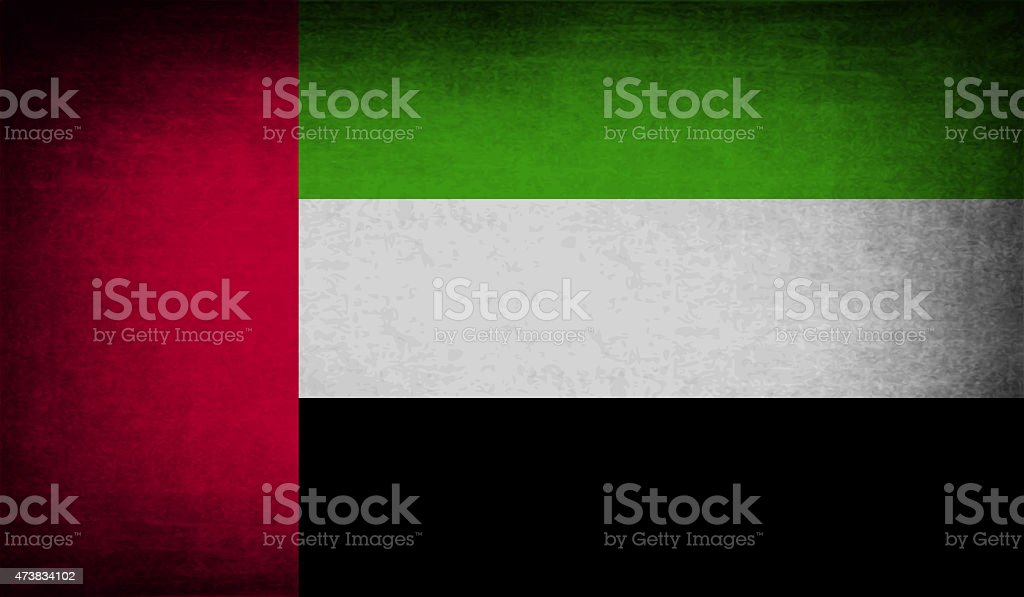 Flag of United Arab Emirates with old texture. stock photo