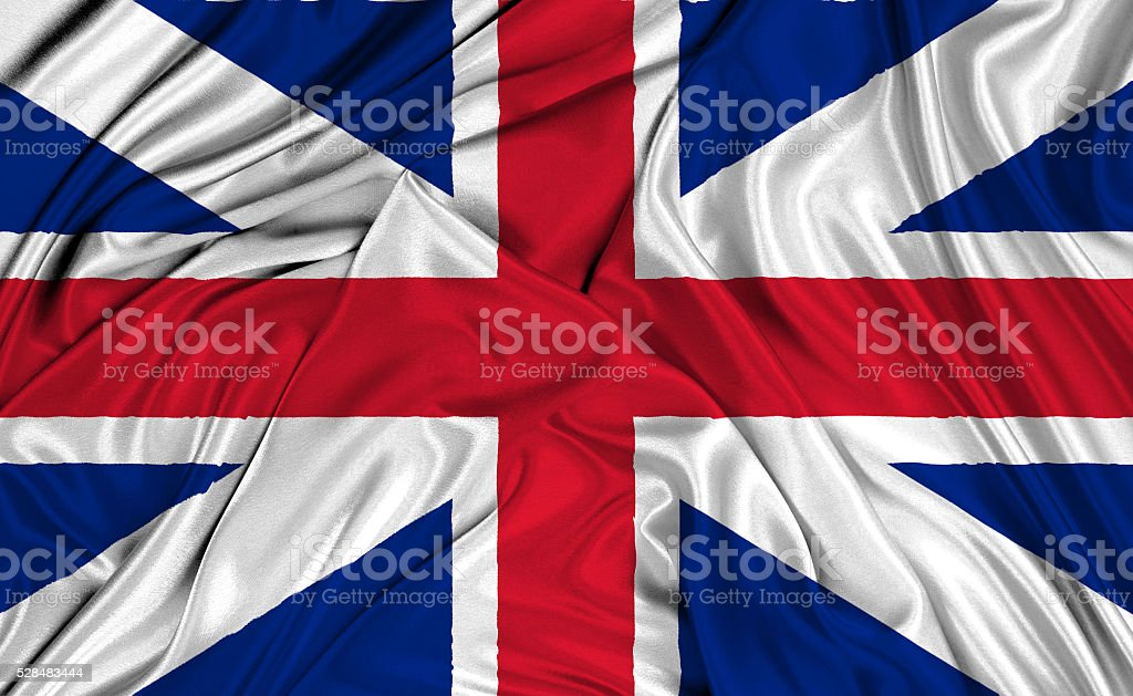 Flag of United Kingdom 3D, silk texture stock photo