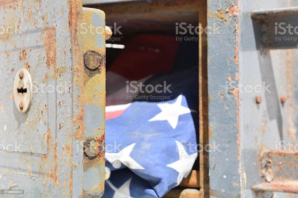 Flag of United States in Deposit Box stock photo