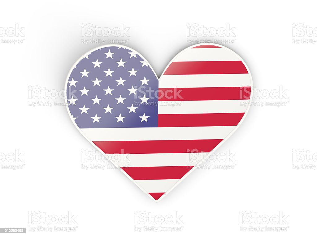 Flag of united states of america, heart shaped sticker stock photo