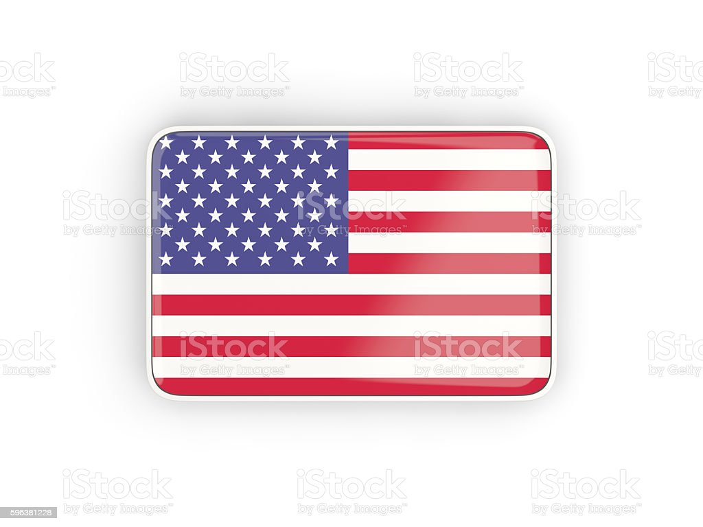 Flag of united states of america, rectangular icon stock photo