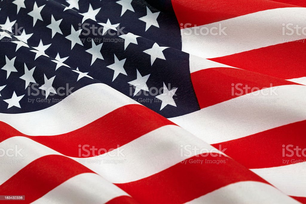 Flag of United States of America with ripples stock photo
